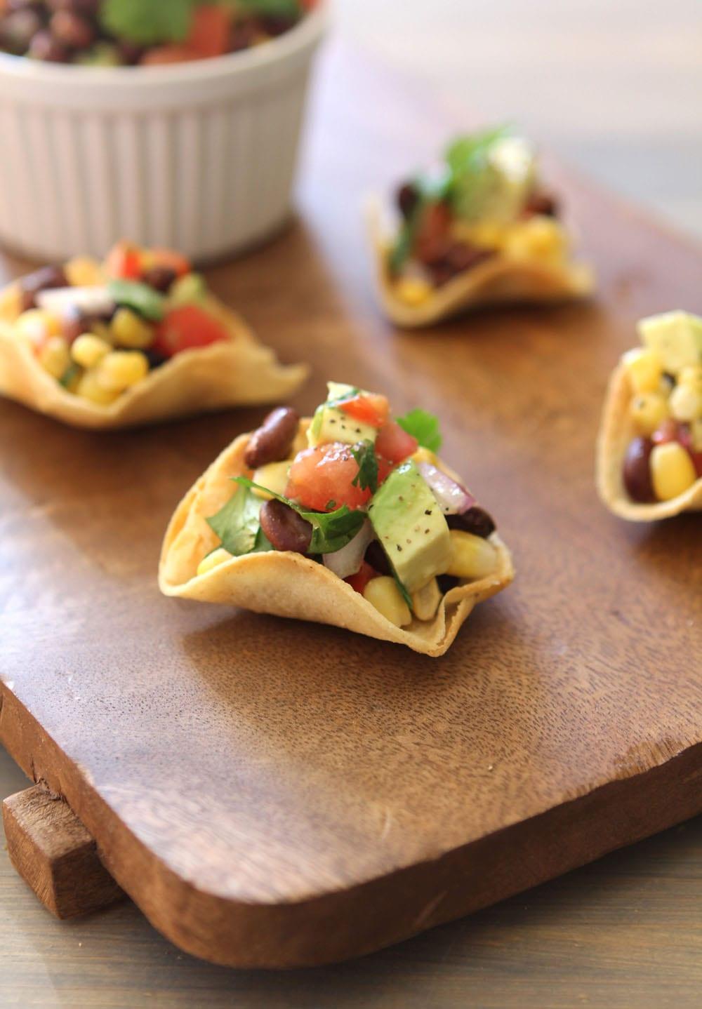 Black Bean, Corn and Avocado Salsa in Homemade Tortilla Cups