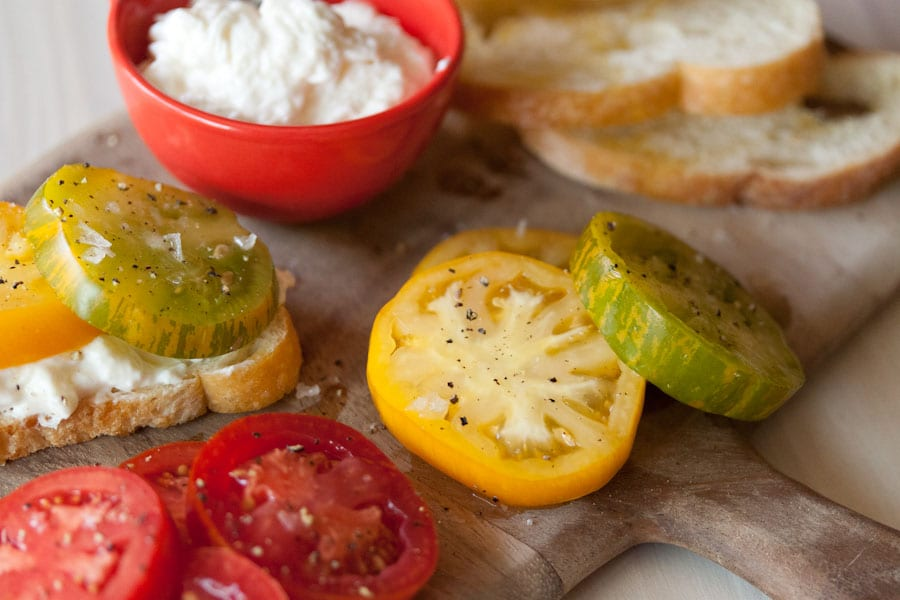 Summer Fest: Zebra Tomato and Burrata Crostini