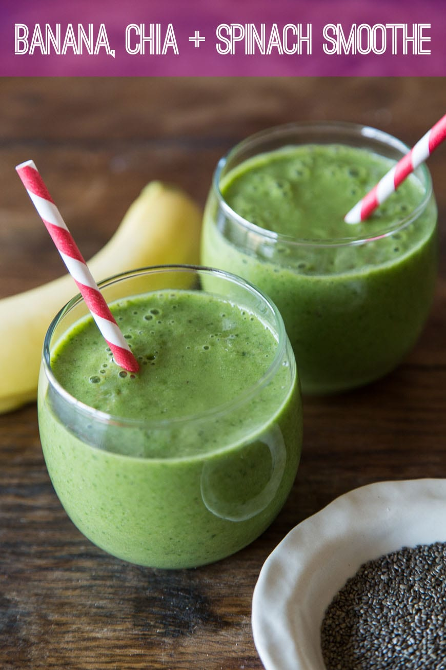 Banana, Chia and Spinach Smoothie - an easy and filling morning meal!