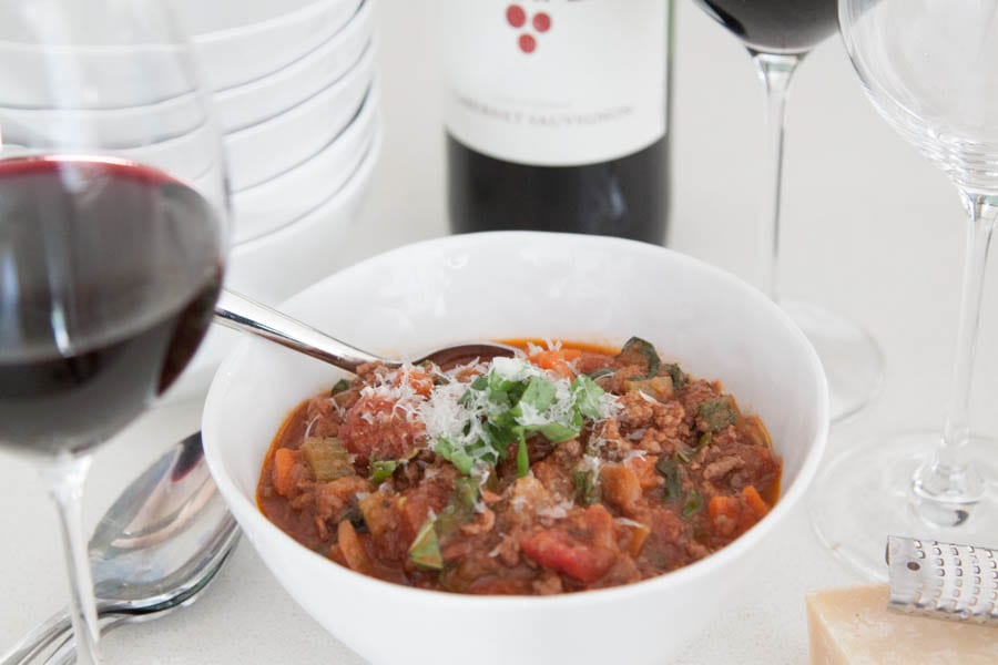 Quick Cabernet Bolognese Sauce from What's Gaby Cooking