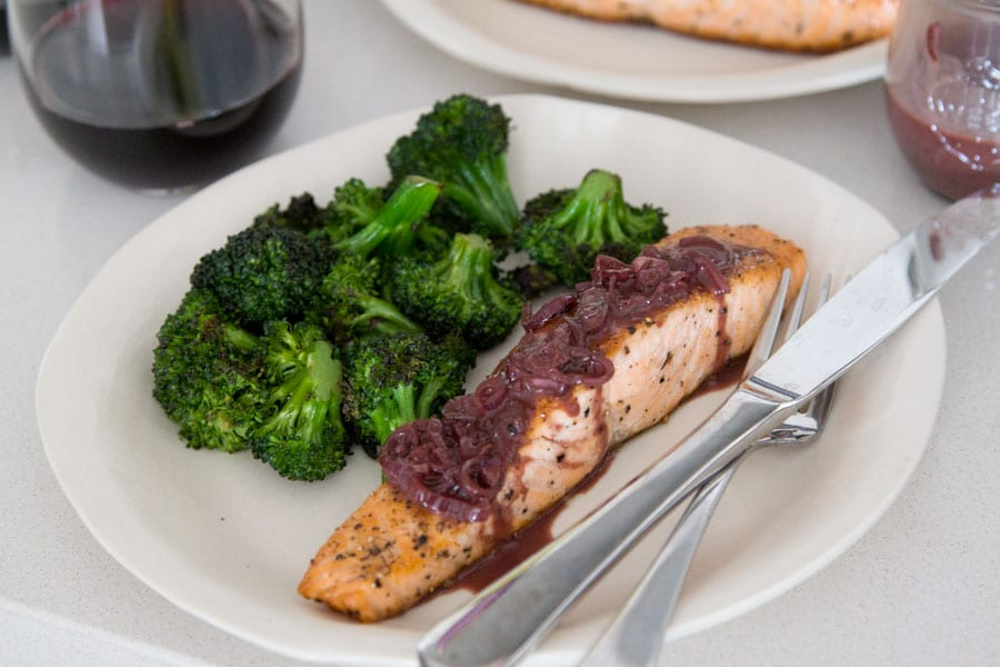 Pan Seared Salmon with a Red Wine Balsamic Sauce